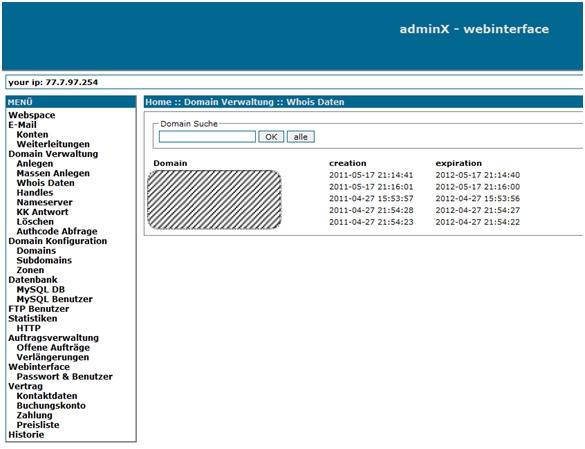 Domains administrieren