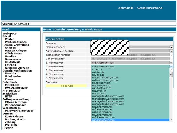 DNS-Server bei Domain in XAdmin eintragen
