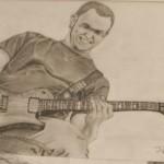 Daniel Bregenzer Bleistift Zeichnung Guitarre Solo Rockmusik Stone Sour