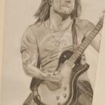 Daniel Bregenzer Bleistift Zeichnung Guitarre Rock Studie