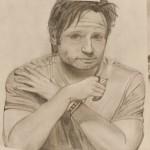 Daniel Bregenzer Bleistift Zeichnung Nachdenken bei einer Zigarette müde
