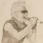 Daniel Bregenzer Bleistift Zeichnung Sänger Punk Sonnenbrille