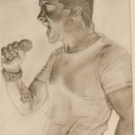 Daniel Bregenzer Bleistift Zeichnung Schrei Scream Heavy Metal Energie