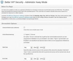 auf dieser Seite kann der Abwesenheitsmodus (away mode) von Better WP Security eingestellt werden
