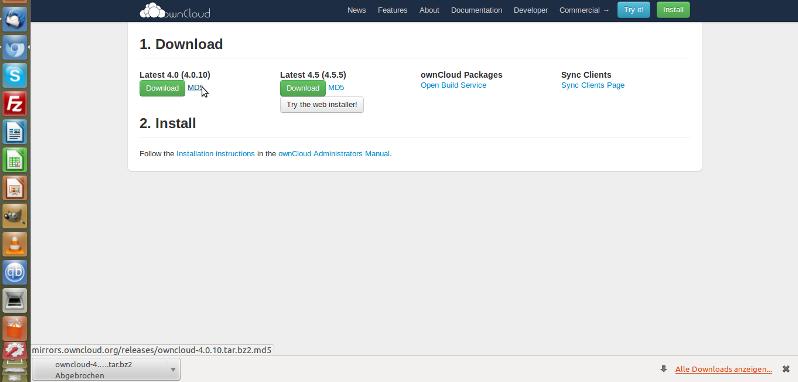 ownCloud wo herunterladen und md5sum-Hash erhalten