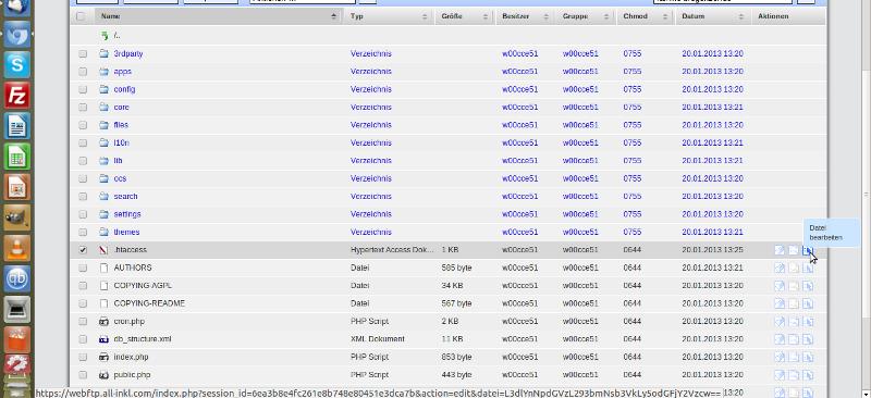 .htaccess Datei zur Manipulation öffnen