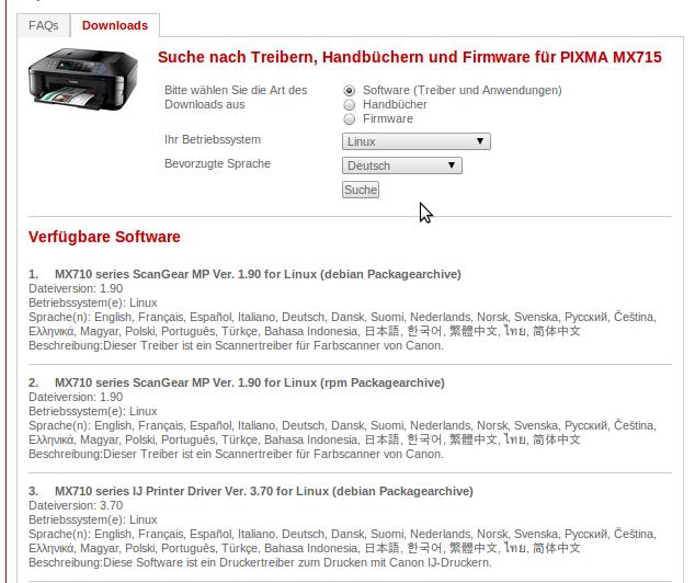 Canon PIXMA MX715 Software herunterladen