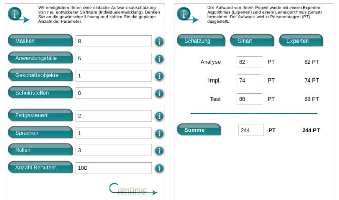 Beispiel Aufwandsschätzung Estimation Manager